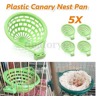 5Pcs Green Plastic Birds Finehes Canary Nest for Nesting Hatch Birth 14cm