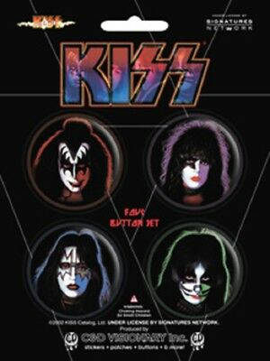 Kiss - 4 x 3cm Button Set - Faces