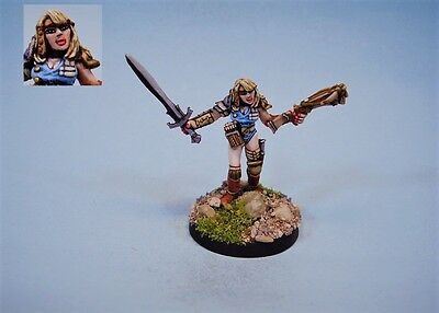 Ral Partha painted miniature Female Warrior (30 day listing)