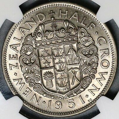 1951 NGC MS 64 New Zealand 1/2 Crown BU Coin (17042801C)