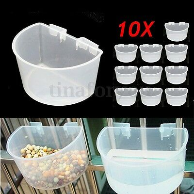 10Pcs Plastic D Cups Feeder Pots 7.5cm With Hooks Aviary Birds Finches Canary