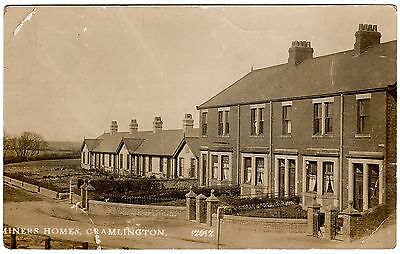 Rare Moment In Time R.p. Postcard Miners Homes-Cramlington-Northumberland 1915