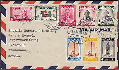 Afghanisthan Kaboul Franked 1952 Superb Airmail Cover With 14 Values To Germany