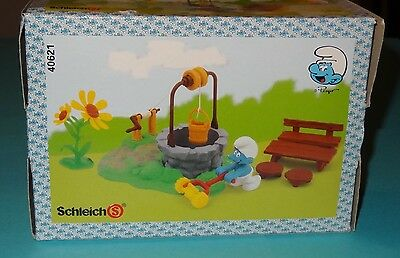 Smurfs NEW Smurf Well Playset w/ Picnic Table, Lawn Mowing Figure, and Flowers