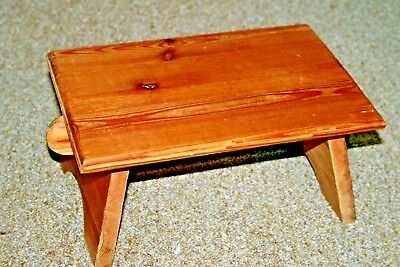 Vintage Solid Pine Wood Small Foot Stool Milking Primitive Wooden Stools Rustic