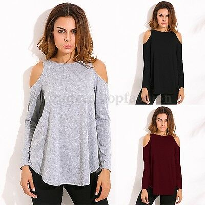 Summer Women's Off Shoulder Asymmetrical Loose Casual Blouse Shirt Tops Pullover