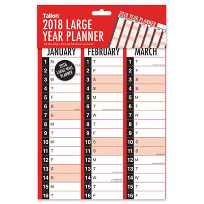 2018 Large Year Flat Wall Planner Family Office Organiser Jan - Dec 84cm x 60cm