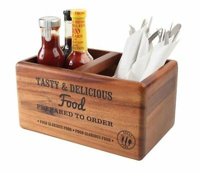 T&G Woodware Tuscany Table Tidy Condiment and Cutlery Holder with Chalk Board