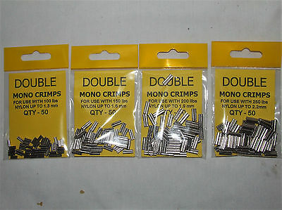 Double Mono Crimps 4 Size Available - Sea or Coarse Fishing