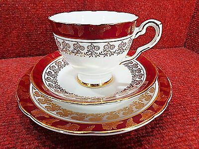 "Royal Stafford ""morning Glory - Red "" Floral And Foliage Gilt Tea Trio"