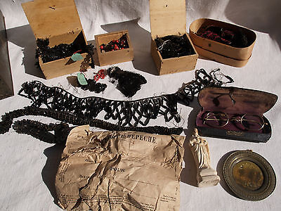 Antique 19thC French Victorian Black Jet Dressmaking Beads Appliques etc. in Box