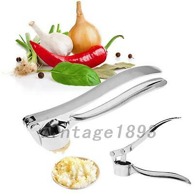 Stainless Steel Garlic Press Crusher Squeezer Masher Home Kitchen Tool New