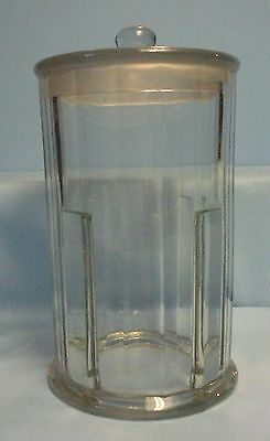 "Vtg John Hood Co . Glass Jar .Apothecary . with lid . 10""T"