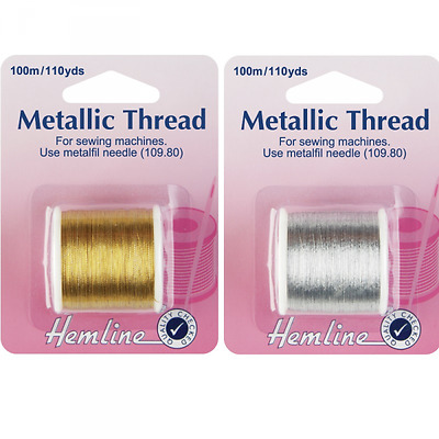 Hemline 100m Metallic Sewing Machine Thread Silver Or Gold