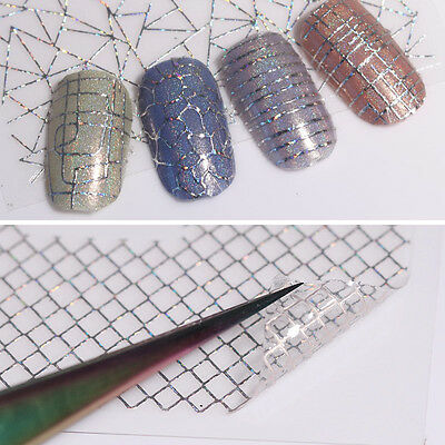 12 Patterns Holo 3D Nail Stickers Laser Aurora Line Adhesive Nail Art Decals DIY