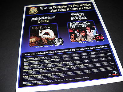 CREED and AMERICAN BANDSTAND RECORDS Dual 1998 PROMO DISPLAY AD mint condition
