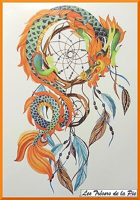 TATOUAGE TEMPORAIRE TATOO XXL - Body art - Dreamcatcher & dragon - Multicolore