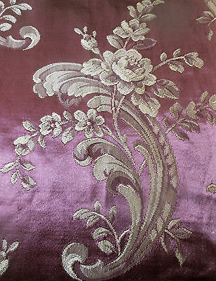 Antique Vtg. Roses Floral Scroll Satin Jacquard Fabric ~ Eggplant Purple Taupe