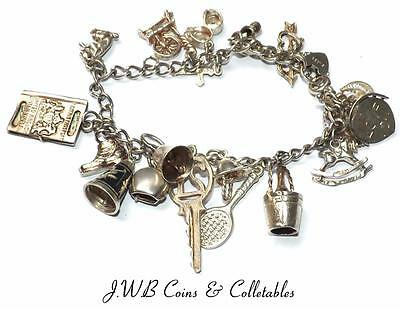 Vintage Sterling Silver Charm Bracelet With 18 Charms - 37 Grams