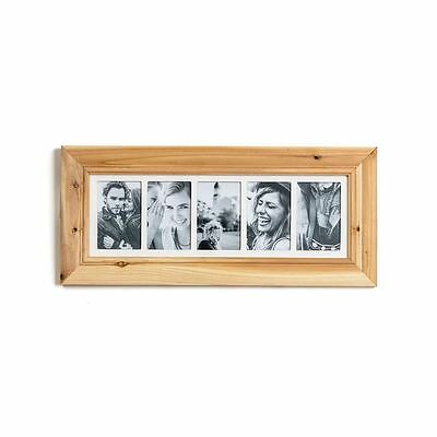 Deluxe 5 Aperture Solid Pine Wood Multi Photo Frame ~ Natural Brushed Pine