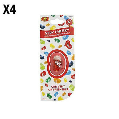 JELLY BELLY VENT CAR AIR FRESHENER - VERY CHERRY FLAVOUR x4 - AIR FRESHNER NEW
