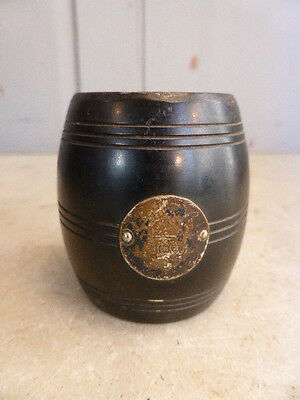Antique ebony treen pot barrell with silver plated plaque