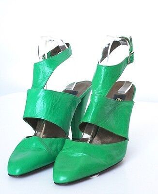 UK 6 Shelleys  Green Leather Vintage Shoes - 1990s - 39