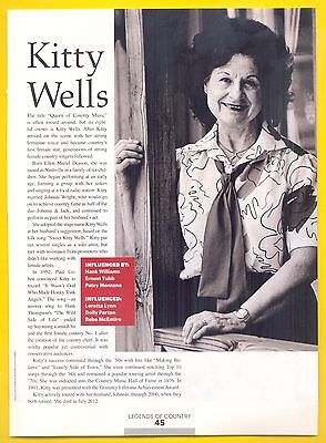 """Kitty Wells, Country Music Star in 2014 Magazine Print Article. """"Pioneers"""""""