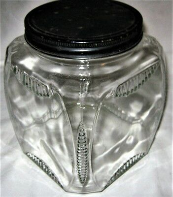 Antique Usa Country Kitchen Deco Hoosier Cabinet Clear Glass Cookie Storage Jar