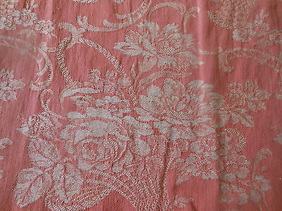 Antique French Roses Basket Scroll Damask Ticking Cotton Fabric ~ Coral Pink