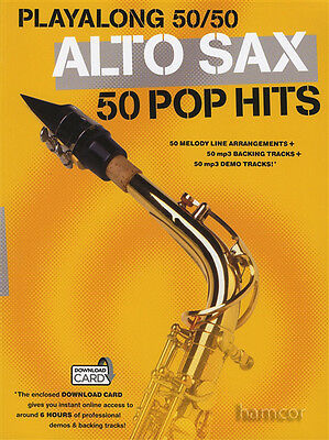 PlayAlong 50/50 Alto Sax 50 Pop Hits Sheet Music Book +6 Hrs Audio Download Card