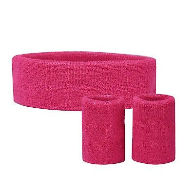 Solid Color Sports Sweatband Set Thick Gym Attire Headband and Dual Wristbands
