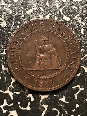 1886-A French Indochina 1 Centime Lot#4129 Nice!