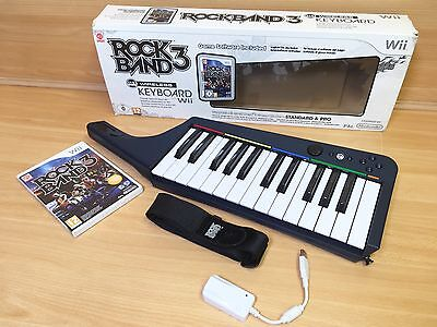Wii Rockband 3 Game and Wireless Keyboard Controller Boxed With Dongle
