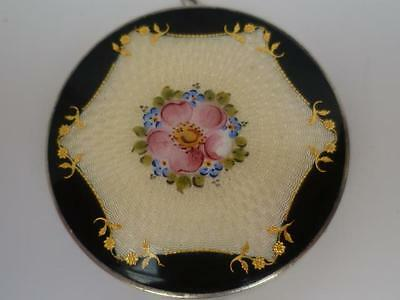 Antique Stunning  Silver & Guilloche Yellow & Black Enamel Compact Hallmarked