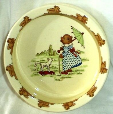 "Sylvac Teddy Ware Child's Dish Bowl Bear Umbrella Lamb Wheels 6"" Diameter"