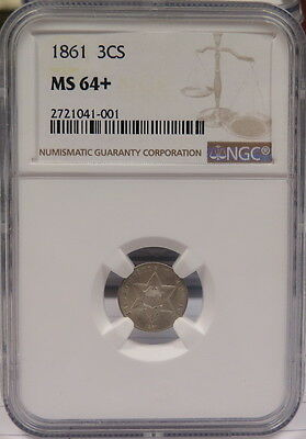 1861 3-Cent Silver  (Ngc Ms-64+)