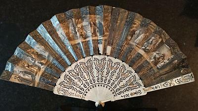 Fine Antique Litograph Fan with Eastern Vignettes & Pierced Bone Sticks C 1840
