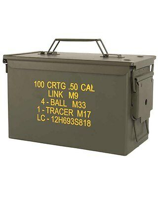 US Ammo Box Steel m2a1 cal.50, Camping, Outdoor, Military -NEU
