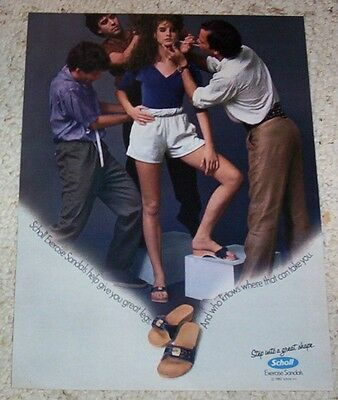 1982 ad page -Scholl Exercise sandals shoes Pretty Model Girl- PRINT ADVERTISING