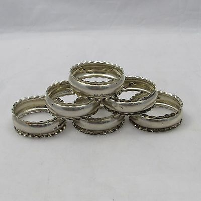 Set Of 6 Antique Solid Silver Napkin Rings Birmingham 1923 W J Myatt & Co