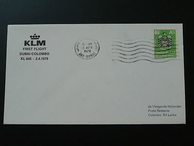 first flight cover FFC 1979 Dubai UAE to Colombo Sri lanka KLM 64697