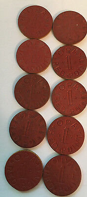 Lot of 10 Vintage OPA Red Points Token Coins