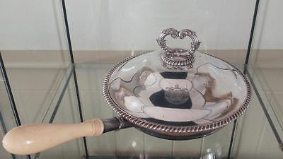 Fine Antique Silver Plated Armorial Crested Chafing Dish with Bone Handle