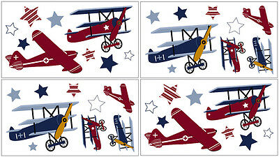 Sweet Jojo Design Airplane Aviator Baby Bedding Kid Decal Sticker Wall Art Decor