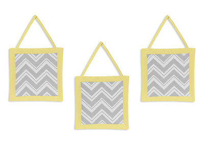 Wall Art Decor Hangings for Jojo Yellow Gray Zigzag Baby Kid Chevron Bedding Set