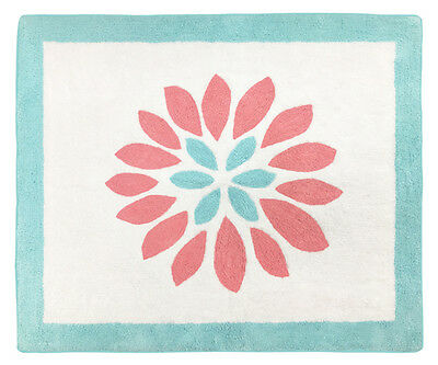Baby Kid Girl Floor Rug For Sweet Jojo Design Turquoise Coral Flower Bedding Set