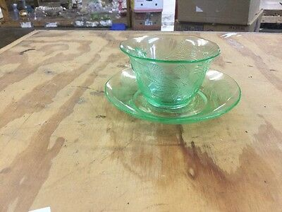 Depression Glass Green Thistle Cup And Saucer