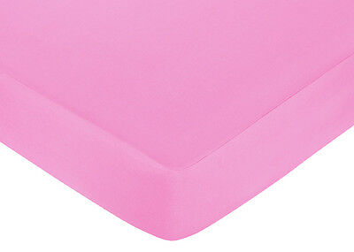 Sweet Jojo Designs Pink Orange Butterfly Crib or Toddler Fitted Sheet-Solid Pink