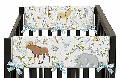 Woodland Animal Toile Baby 2P Crib Side Rail Guard Wrap Cover Teething Protector
